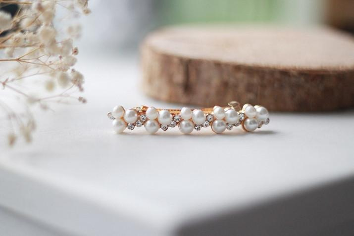 Barrette Inès perles blanches et Strass Argentés