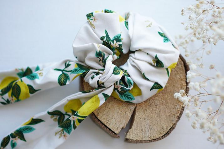Chouchou Ruban Nino motif citrons