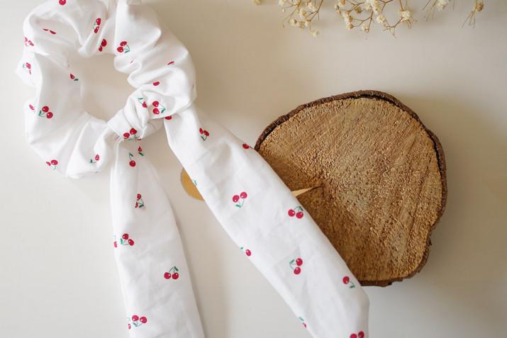 Chouchou Ruban Cerise Rouge et Blanc