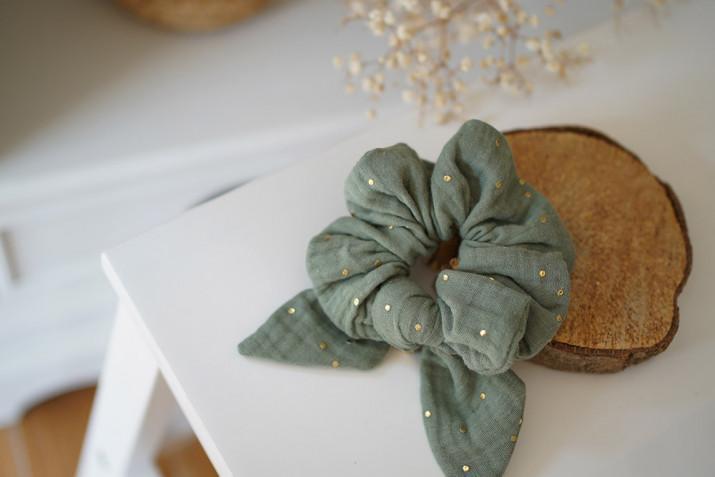 Chouchou Noeud Ivy Vert Sauge à pois dorés