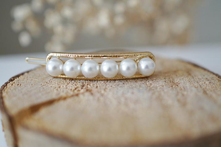 Barrette Rachelle Dorée Perles Blanches