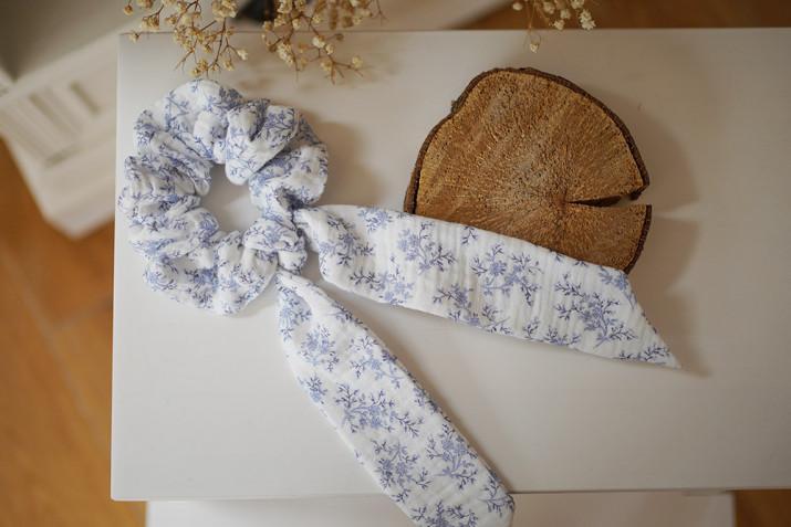 Chouchou Ruban Eloïse Fleuri Bleu Porcelaine