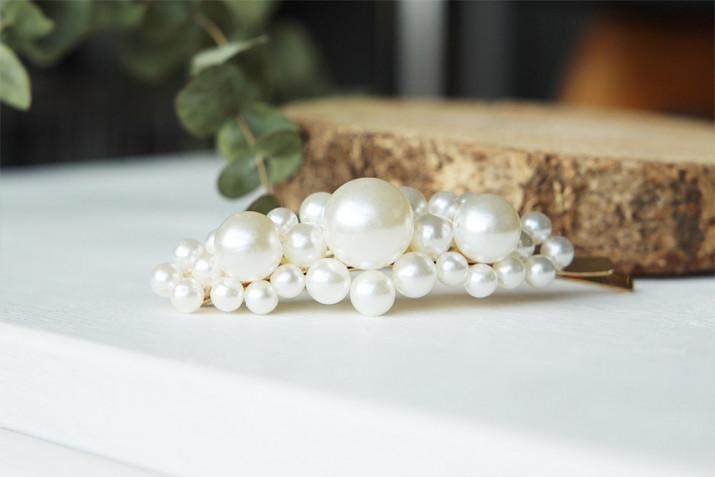 Barrette Isahe Perles Blanches