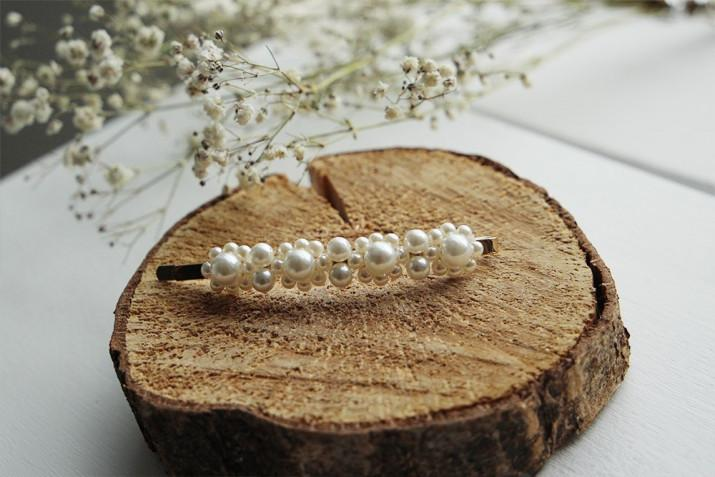 Barrette Agathe Perles Blanches