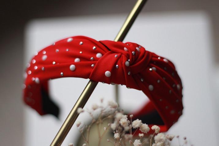 Serre-tête Blair Rouge à perles nacrées