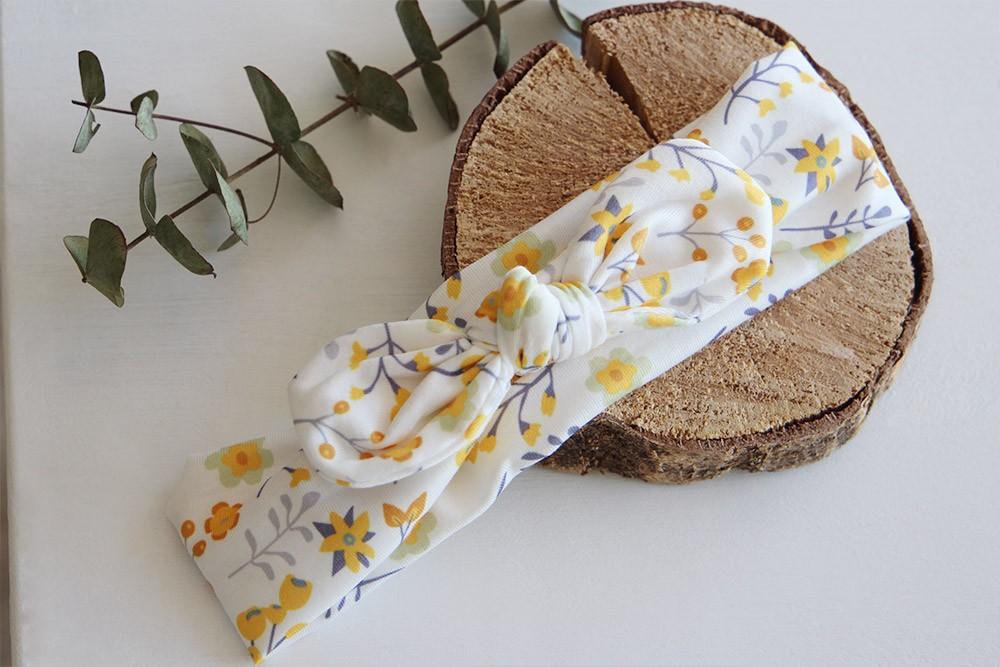 Bandeau cheveux enfants June jaune fleuri Bohomane