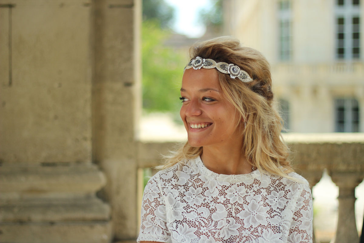 bandeau bijou nina blanc porte bohomane coiffure mariage