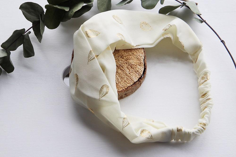 bandeau capucine mariage blanc doré headband bohomane