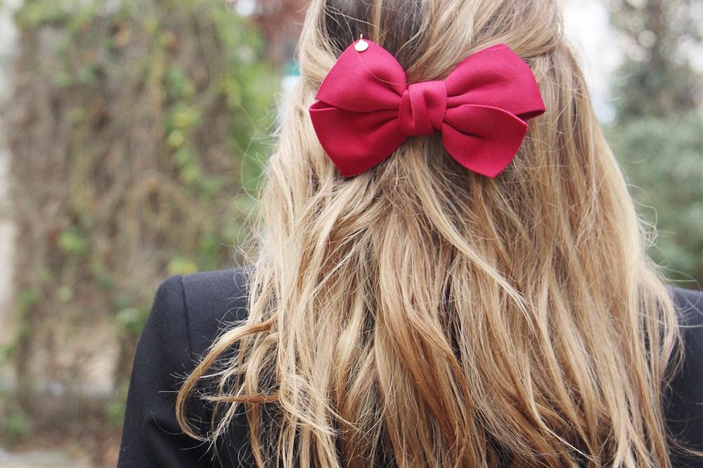 barrette célia noeud rouge bordeaux