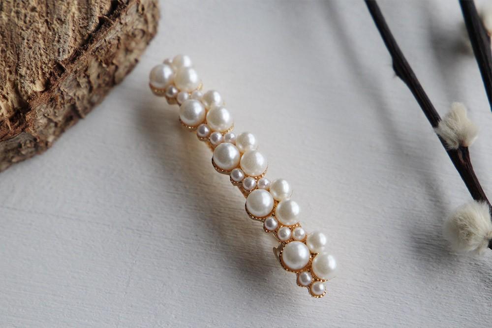 Barrette cheveux femme Bohomane perles blanches
