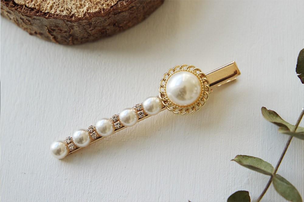 barrette lelia perles blanches bohomane mariage