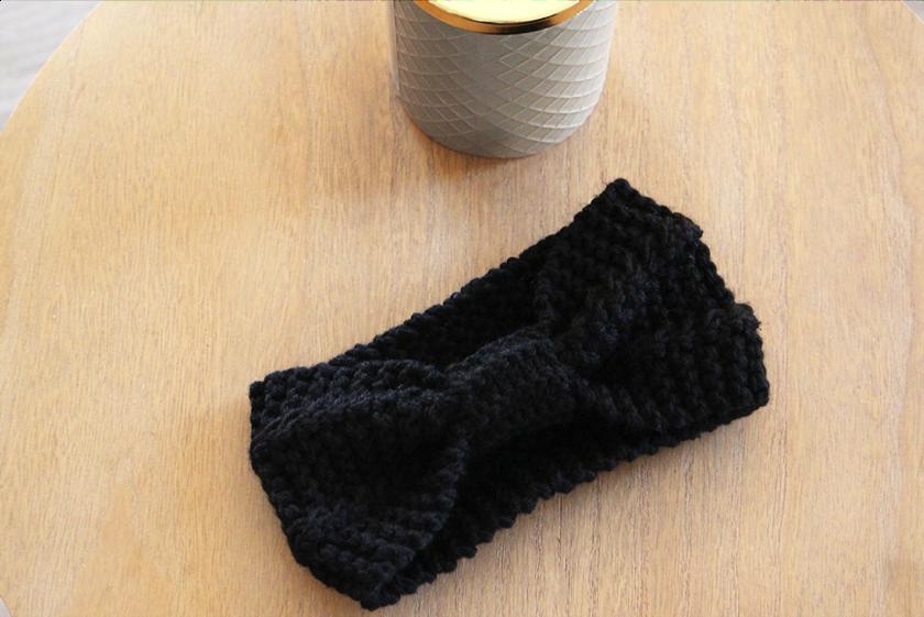 bandeau laine femme hiver noir