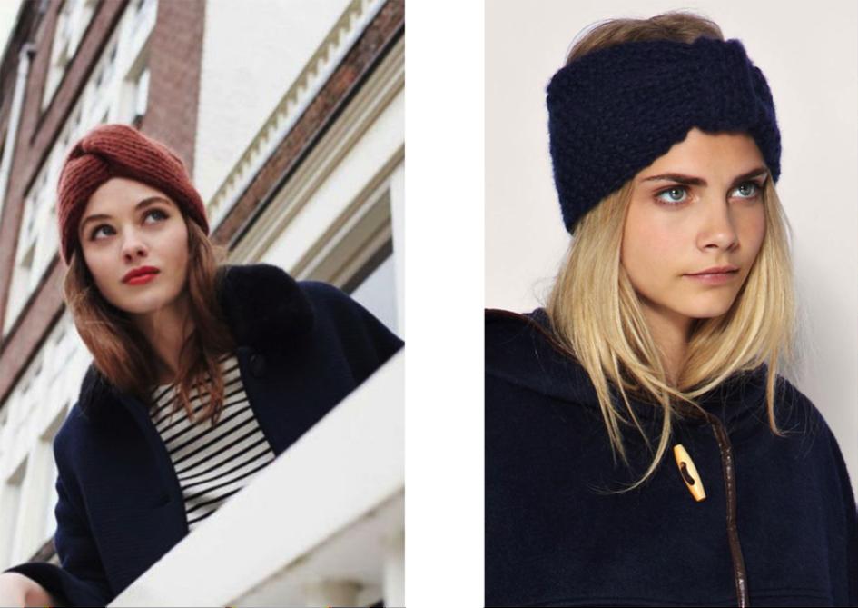 Coiffure headbands laine hiver cheveux femme bohomane