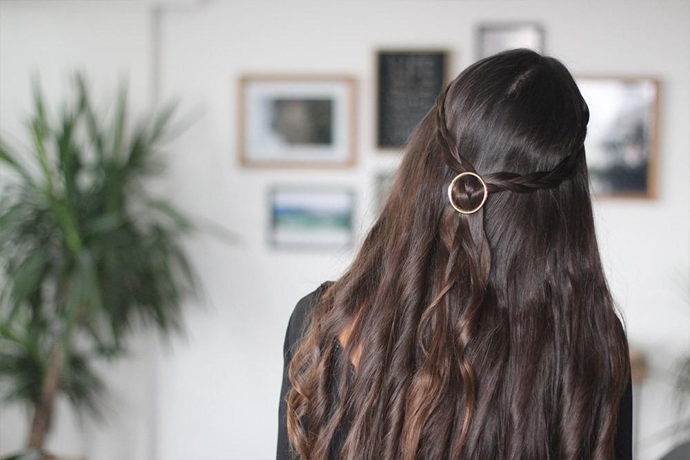 Barrette cheveux femme ronde dorée bohomane